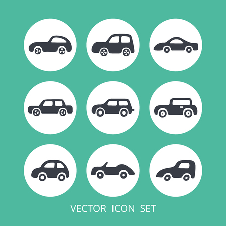 Set of car icons. Vector web and mobile transport icons in flat design. Template for style design. Illustration