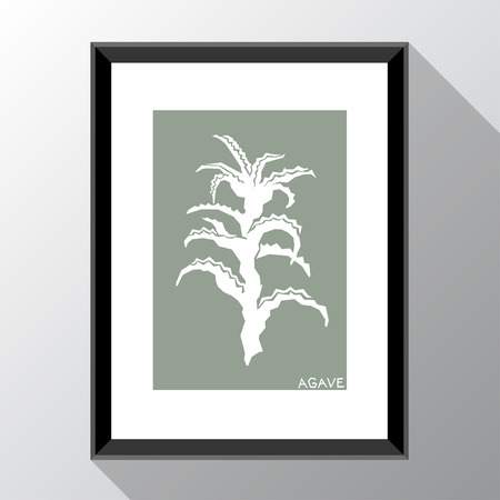 Vector template with photo frame and agave. Template for style design.