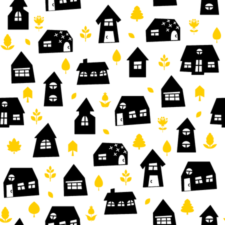 Doodle hand drawn town with plants seamless pattern. Abstract wallpaper. Vector illustration for your cute design.