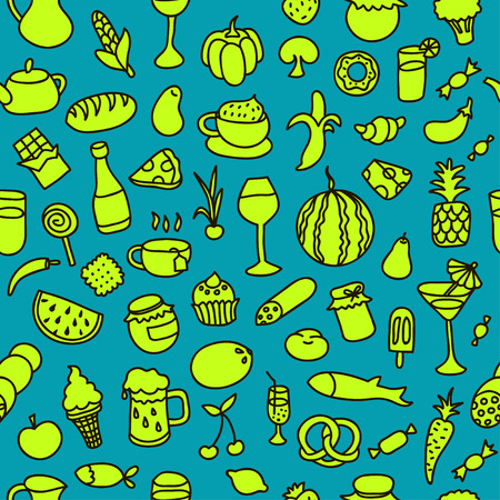 Seamless pattern with food. Hand drawn vector. Good for backgrounds, fabric, kitchen and cafe stuff. Ilustração