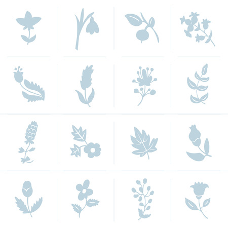 Leaves and flowers icons set. Vector design elements. It can be used as - logo, pictogram, icon, infographic element.