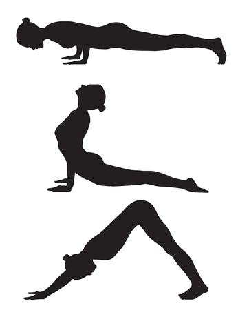 Three girls yoga silhouette. It can be used as - logo, pictogram, icon, infographic element.