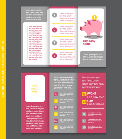 Business brochure template with moneybox, coin, icons, vector design. Eps 10. Illustration