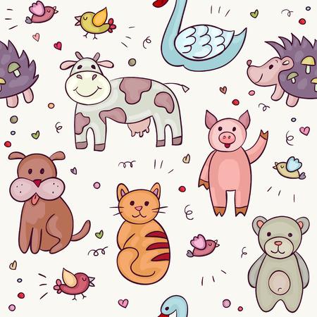 Cute Animals Doodle Set. Hand drawn swan, pig, fish, crocodile, dog, cow, hedgehog, bear, owl, bird, giraffe, dachshund, cat. Vector illustration for your cute design.