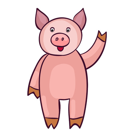 Cute pig cartoon. Template for style design.