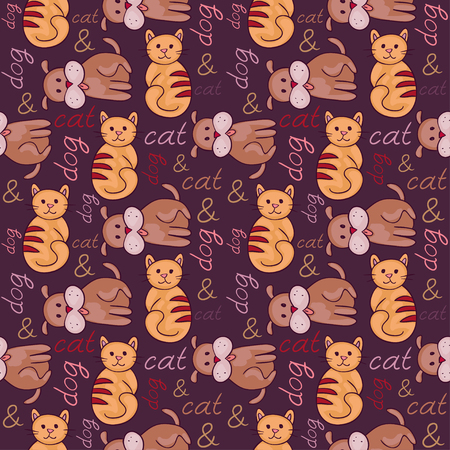 Seamless pattern with cat and dog (puppy and kitten). Domestic animals, illustration of best friends. Vector illustration for your cute design. Illustration