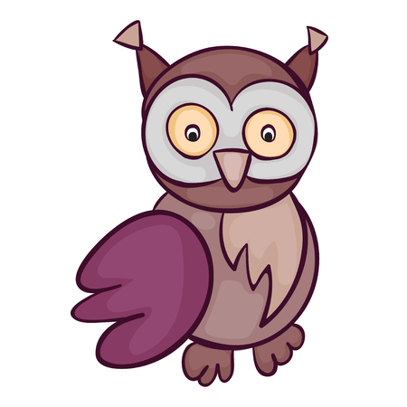 Cute owl cartoon. Template for style design.