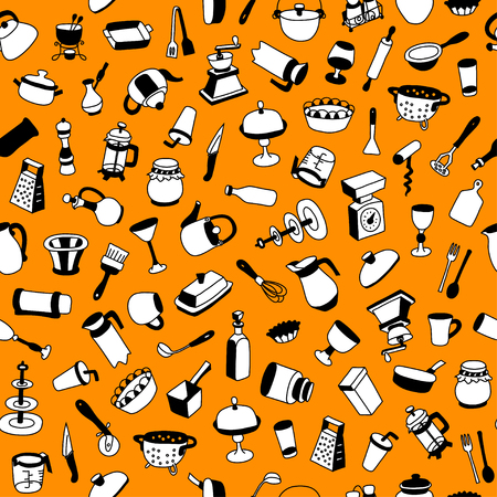 Seamless pattern with different types of cookware. Can be used for textile, website background, book cover, packaging.