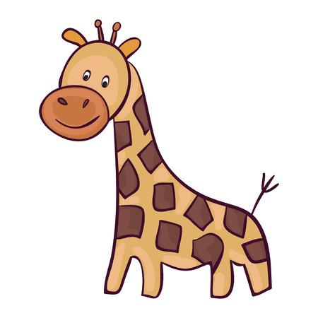 Cute giraffe cartoon. Template for style design. Illustration
