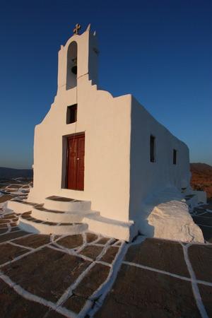 ios: Greek Orthodox Chapel on Chora hill, Ios Stock Photo