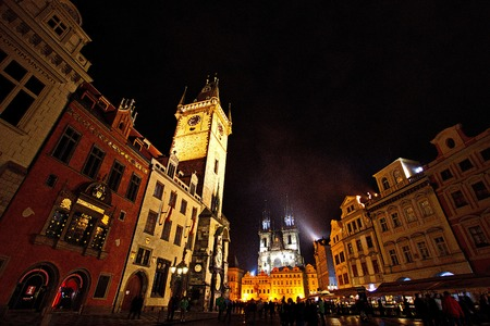 town hall square: Old Town Hall square at night, Prague, Czech Republic