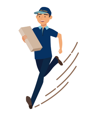 package deliverer: Running man with postal box. Courier with parcel. Vector illustration