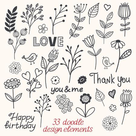 sketchy: Set of sketchy doodle flowers, birds and hearts. illustration Illustration