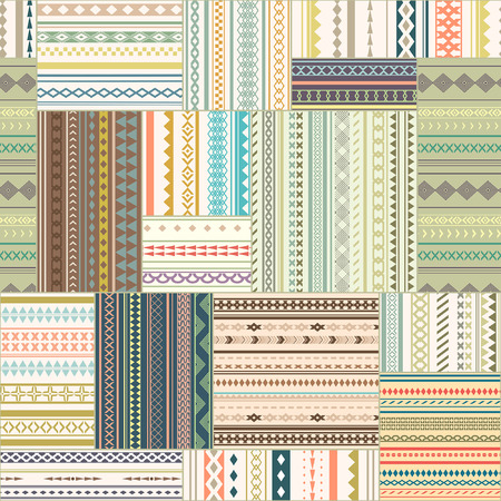 stored: seamless patchwork pattern. Vintage ethnic tribal seamless texture. Striped vintage boho style. Pattern stored in the palette swatches