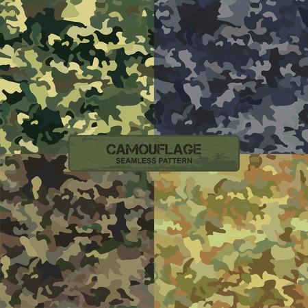 commando: Set of original camouflage patterns. Seamless backgrounds. illustration