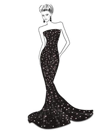 Femme dans brillante robe de soirée noire sur un fond blanc