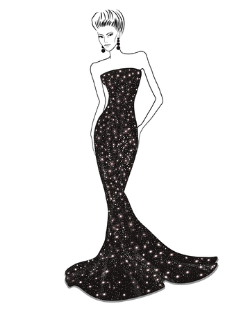 evening dress: Woman in shiny black evening dress on a white background