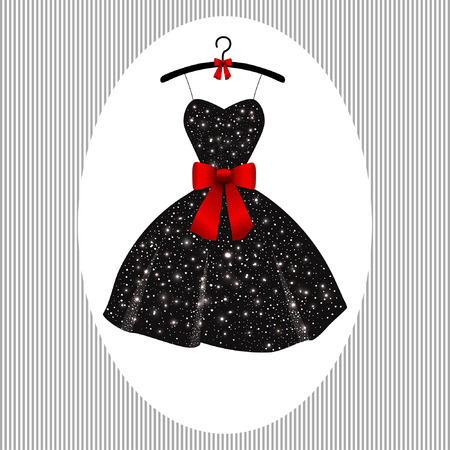 little black dress with a red bow on a hanger Vectores