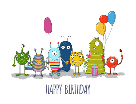Cute monsters greeteng card. Funny colorful monsters happy birthday card. Vector eps10 Ilustração