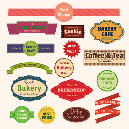 bakery price: Set of  bakery labels, ribbons and cards for your design. Vector illustration Illustration