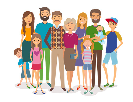 Big happy family. Several generations. Vector illustration