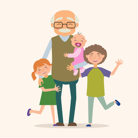 baby grand: Grandfather with her grandchildren. Vector illustration in cartoon style Illustration