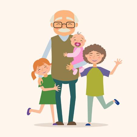 Großvater mit ihren Enkelkindern. Vektor-Illustration im Comic-Stil
