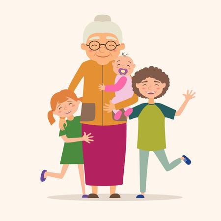 Grandmother with her grandchildren. Vector illustration in cartoon style