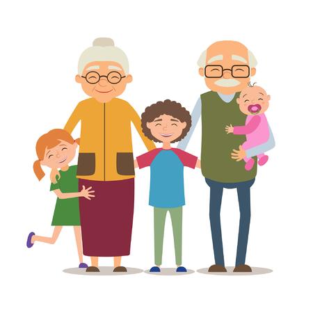 Grandparents with their grandchildren. Vector illustration in cartoon style Stock Illustratie