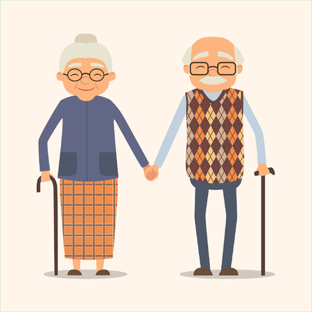 grandparents, vector image of happy couple in cartoon style. Vector illustration