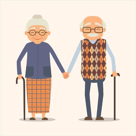 Nonni, immagine vettoriale di coppia felice in stile cartone animato. Illustrazione vettoriale