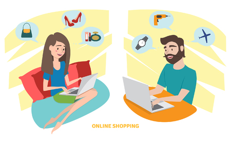 Happy woman and happy man doing online shopping at home. Vector illustration