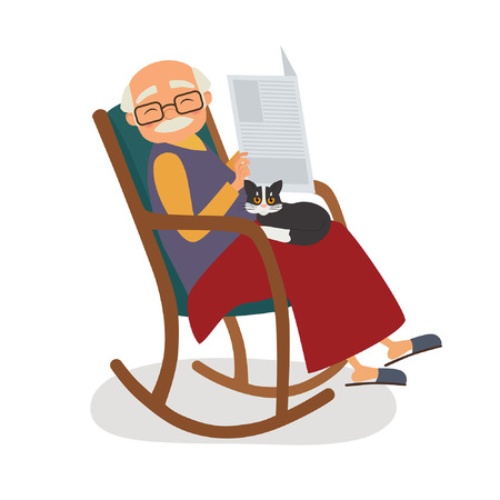 Old man with cat and papernews in her rocking chair. Vector illustration
