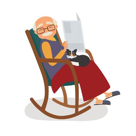 Vieil homme avec chat et papernews dans son fauteuil à bascule. Vector illustration Vecteurs
