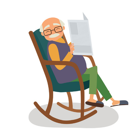 Old man with papernews in her rocking chair. Vector illustration