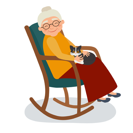 Old woman with cat in her rocking chair. Vector illustration