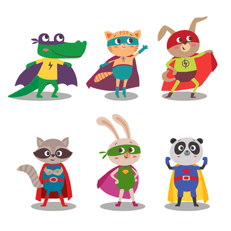 Superhero animal kids. Cartoon vector illustration. Little cat, dog, panda, raccoon, rabbit and crocodile in superheroes costume Çizim