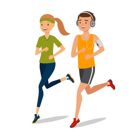 jogger: Urban sports. Couple running or jogging for fitness. Jogger listening to training music on smartphone. Vector illustration Illustration