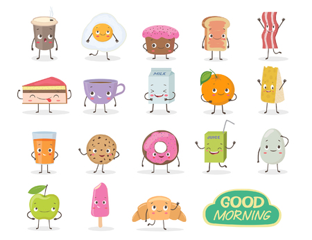 Breakfast. Emoticon food funny elements character. Different emotions collection