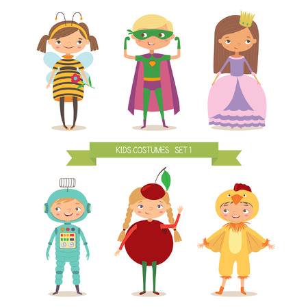 Children party costumes. Superhero, bee, princess, robot, cherry and chicken costume. Cartoon  illustration of boys and girls in different costume
