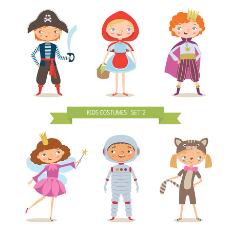 red dress: Different kids costumes vector illustration. Children party costumes. Pirate, Red Riding Hood, prince, fairy, astronaut and kitten costume. Cartoon vector illustration of boys and girls in different costume