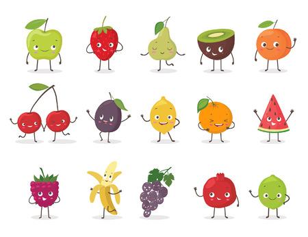 caractère drôle de fruit fixé. Émoticônes fruits de bande dessinée. Illustration