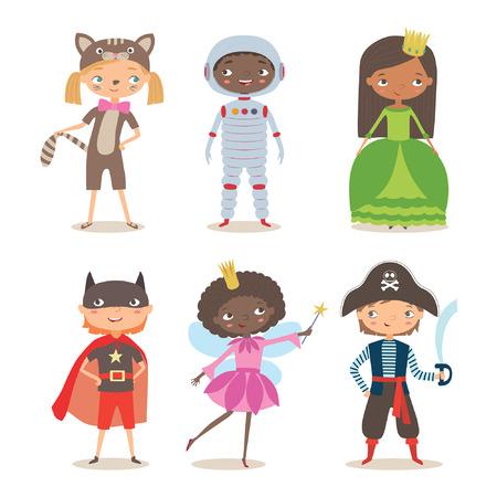 Dzieci różnych narodowości w strojach na imprezę lub wakacje. Kostium piracki, wróżka, superbohater, księżniczka, astronauta i kociak. Kreskówki ilustracja chłopiec i dziewczyny w różnym kostiumu