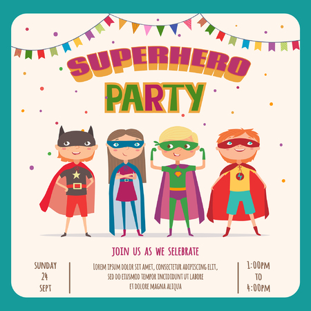 Superhero kids boys and girl. Card invitation with group of cute kids. Illustration