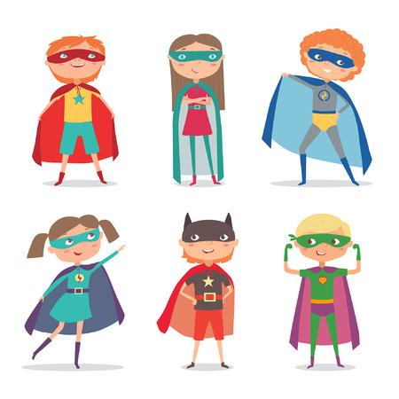 Superhero kids boys and girls. Super kids cartoon  illustration Vectores