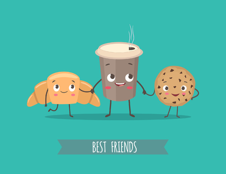 funny food: Breakfast. Funny characters croissant, cookies with chocolate and cup of coffee. Best friends set. Funny food. Vector cartoon illustration. Cute stylish characters