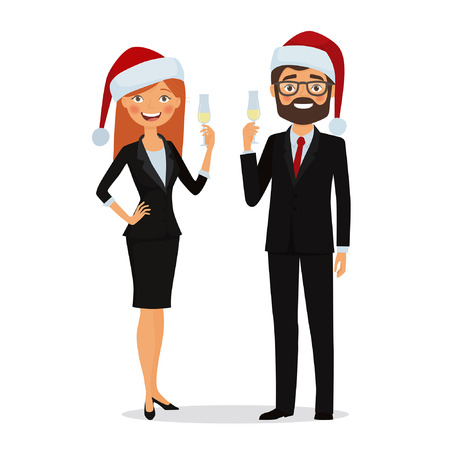 Congratulations on Christmas holidays. Business people dressed in Christmas hats and in business suits congratulate on the holiday. Businessman and businesswoman congratulates with glass of champagne