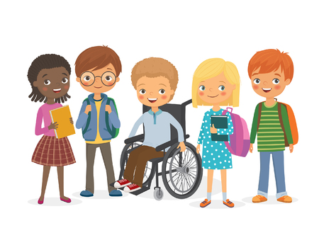 Disabled child in a wheelchair with his friends. Pupils girls and boys. International kids with backpacks and books with his friend, a disabled. Vector illustration Vettoriali