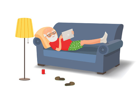 Elderly man lying on the couch with a tablet. Vector illustration
