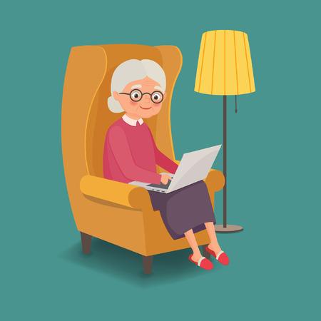Bejaarde vrouw zittend in een stoel met een laptop. vector illustratie